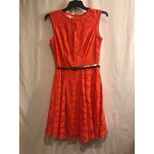 Orange Lacy Keyhole Dress
